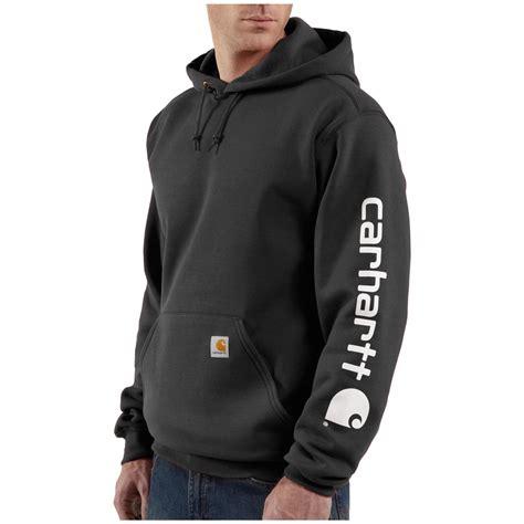 t shirt carhartt logo s carhartt 174 midweight hooded logo sleeve pullover
