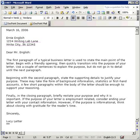 Business Letter Template Microsoft Word 2003 Microsoft Word Formal Letter Template