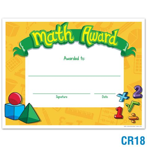 product details math award certificates awards
