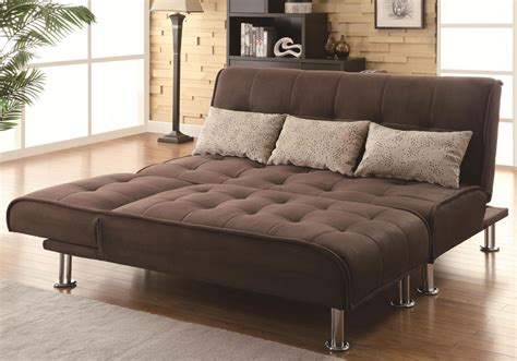 contemporary living room sofa futon bed adjustable chaise sleeper ottoman brown ebay