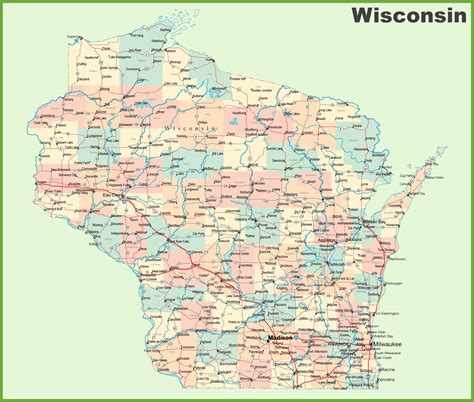 a map of wisconsin road map of wisconsin with cities