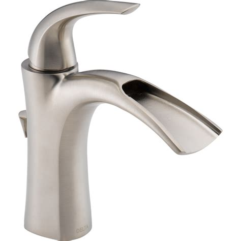 Delta Bathroom Sink Faucet by Shop Delta Nyla Stainless 1 Handle Single Watersense Bathroom Sink Faucet Drain Included