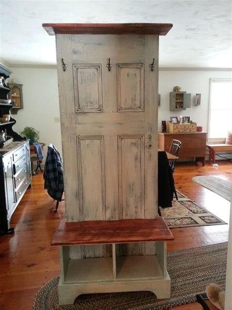 tree with bench and shelves door hall tree made from an antique door and a custom