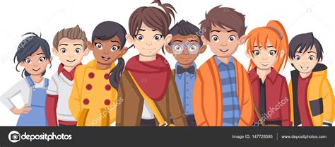 imagenes de niños y adolescentes grupo de ni 241 os de moda de dibujos animados archivo