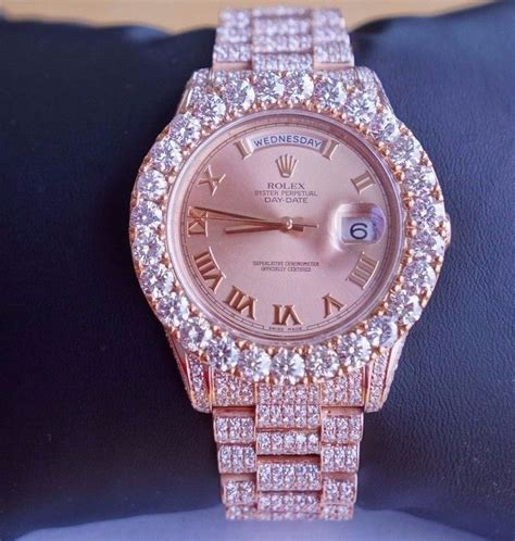 Rolex 9072 Gold List Pink 27 cts white diamonds rolex day date ii 18k gold