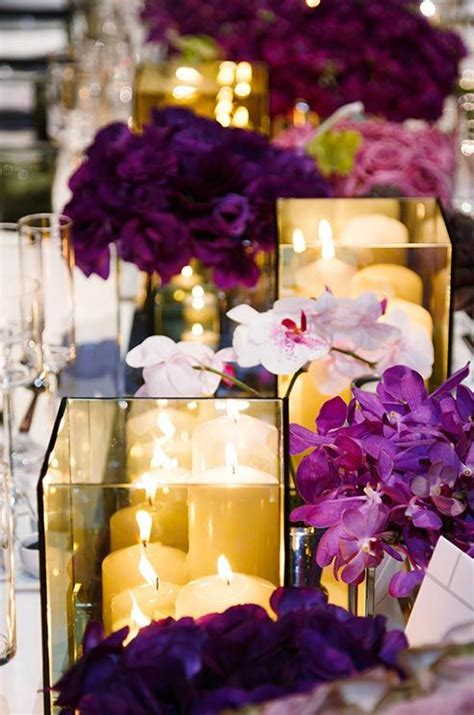 17 Best Images About Purple Yellow Black And White Purple And Yellow Wedding Centerpieces