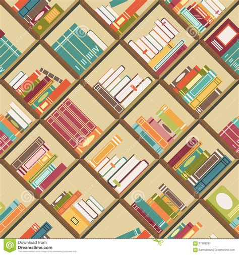 background pattern book bookshelf with books seamless background stock vector