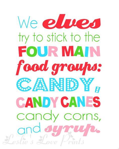 printable elf quotes elf four main food groups printable 3 50 via etsy