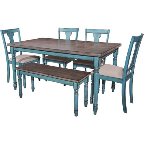 Powell 16d8214 Willow 6 Piece Dining Set In Burnished Teal Dining Table