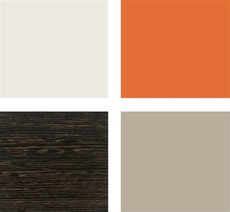 this color pallet for paint taupe walls orange accent wall and white trim with