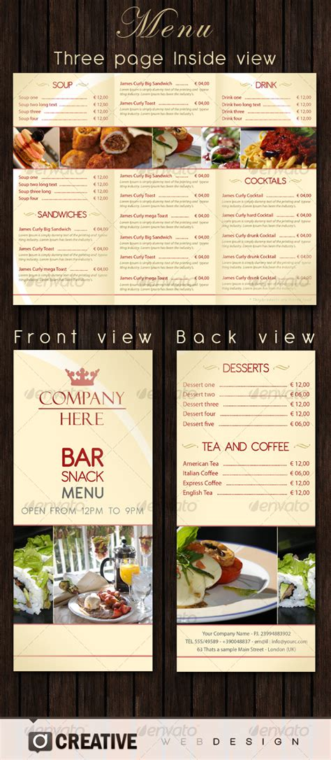 bar food menu templates bar restaurant menu psd by creative graphicriver