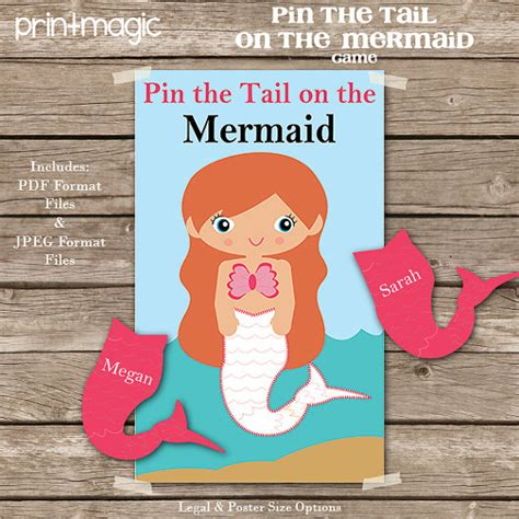 Pin The On The Mermaid Template pin the on the mermaid printable digital