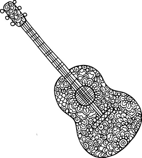 guitar coloring pages guitar doodle coloring kidspressmagazine