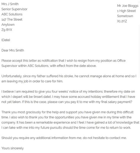 resignation letter due to illness template resignation letter exle due to family illness