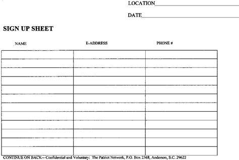 Sign up sheet template volunteer sign up sheet template word