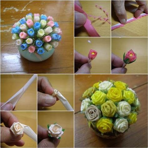 How To Make Artificial Flowers With Paper - 1000 ideas about straw crafts on