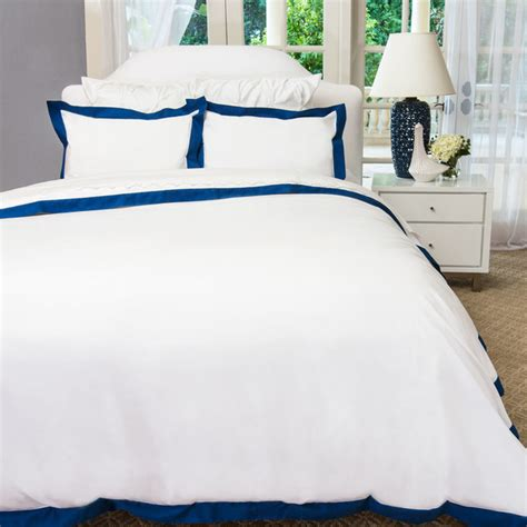 Navy And White Duvet Cover Set 400 Thread Count Hotel Collection Border Bedding Duvet