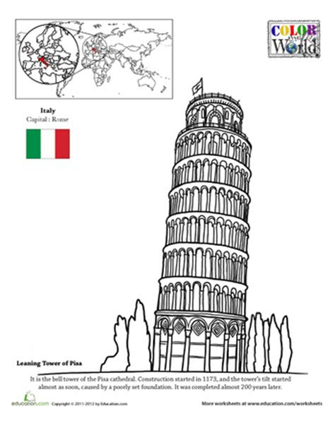 Color The World The Leaning Tower Of Pisa Pisa Leaning Tower Of Pisa Coloring Page