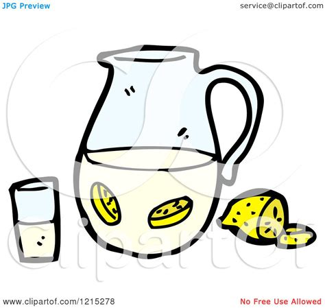 cartoon of a pitcher of lemon water royalty free vector