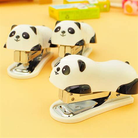 Stepler Panda deli mini panda stapler set 1000pcs staples office school supplies staionery paper clip