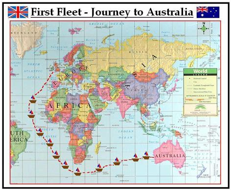 map uk to australia the route of the fleet in 1788 from to