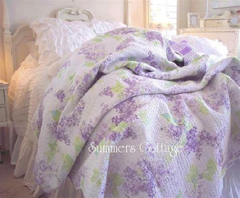 shabby lavender cottage romance lilacs chic aqua blue king quilt pillow shams ebay