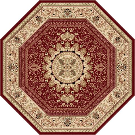 Tayse Rugs Sensation Red 7 Ft 10 In Traditional Octagon Octagon Shaped Area Rugs