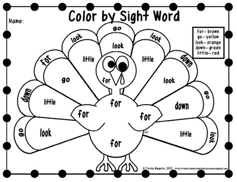 thanksgiving coloring page for first grade free color by sight word printables thanksgiving