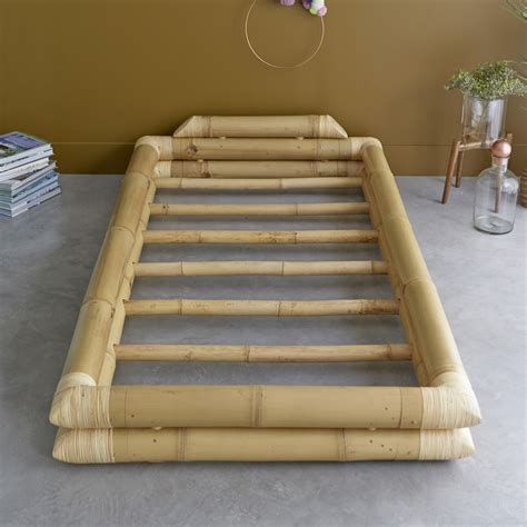Bamboo Futon Frame by Tikamoon Balyss Bamboo Futon Bed Frame For 90x190