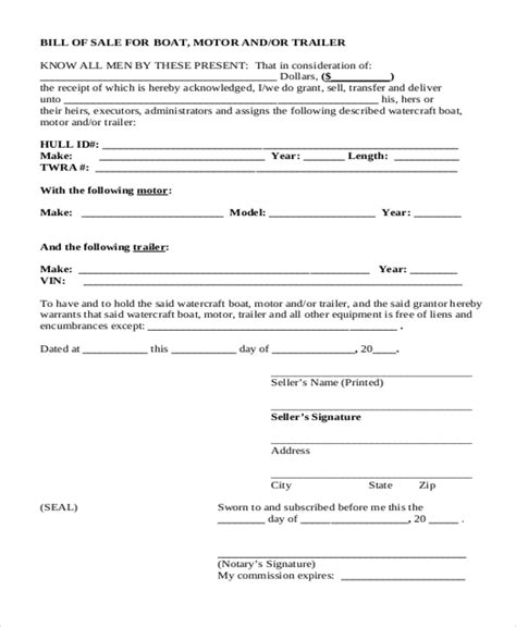 bill of sale for boat motor and trailer sle bill of sales 10 free documents in pdf
