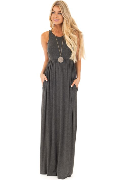 Tank Dress With Pockets For by Black Racerback Tank Maxi Dress With Pockets Lime Lush