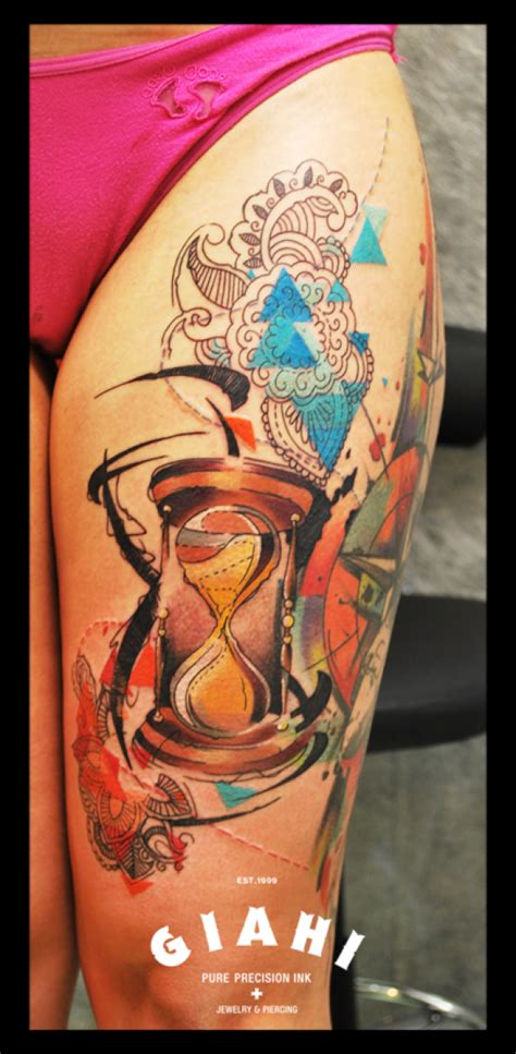shaking hourglass tattoo by live two best tattoo ideas