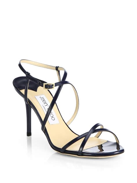 navy strappy sandals jimmy choo elaine strappy patent leather sandals in blue