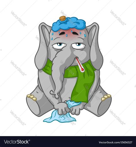 sick images elephant character sick royalty free vector image