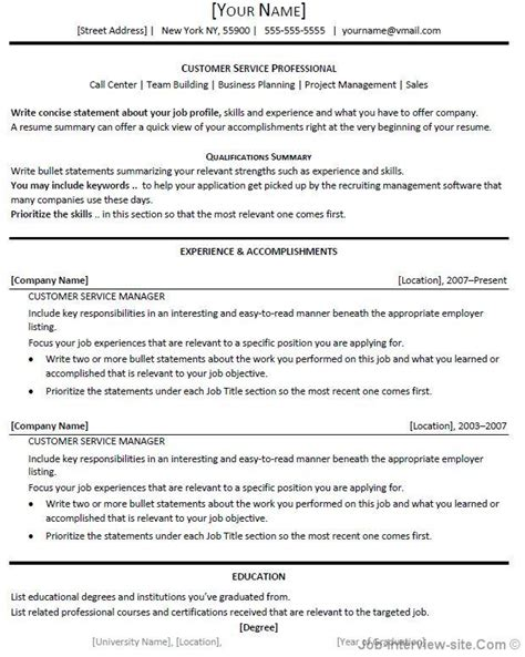 Resume Sample Objectives For Customer Service free 40 top professional resume templates
