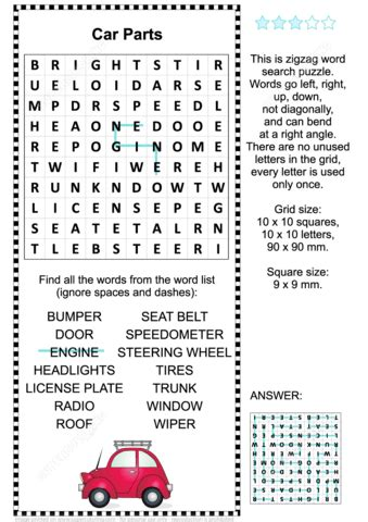 Car Types Word Search by Car Parts Word Search Puzzle Free Printable Puzzle