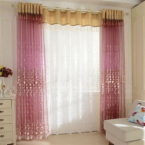 decorative curtains for living room decorative embroidery floral pattern living room purple