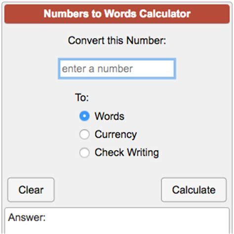 calculator words numbers to words converter