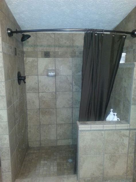 half shower curtain tile shower with curved shower curtain and half wall