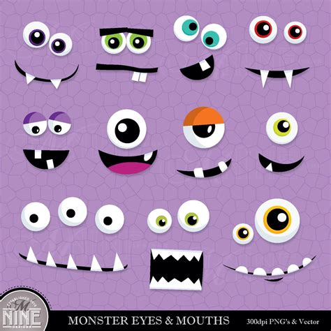 printable alien eyes monster eyes mouths clip art digital clipart instant