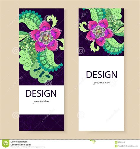 Banner Template Flowers Doodle Sle Leaflets Flyers Stock Vector Illustration 67631240 Z Banner Template