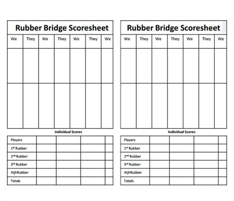 bridge score sheet 8 sle bridge score sheets sle templates