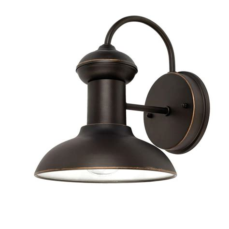 Globe Patio Lights Home Depot Globe Electric Martes 10 In Rubbed Bronze Downward Indoor Outdoor Wall Sconce Light 40190