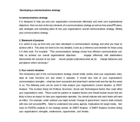 Developing A Business Strategy Template by 11 Communication Strategy Templates Free Sle