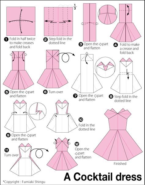 Origami Evening Dress - origami evening dress bows ribbons paper cloth