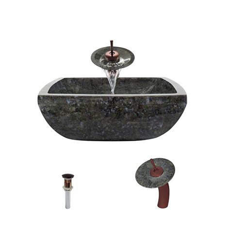 Butterfly Kitchen Sink Mr Direct Vessel Sink In Butterfly Blue Granite With Waterfall Faucet And Pop Up Drain In