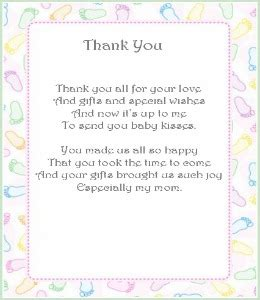Thank You For Baby Shower Gift Poem by Thank You Notes Baby Shower Baby Shower Thank You