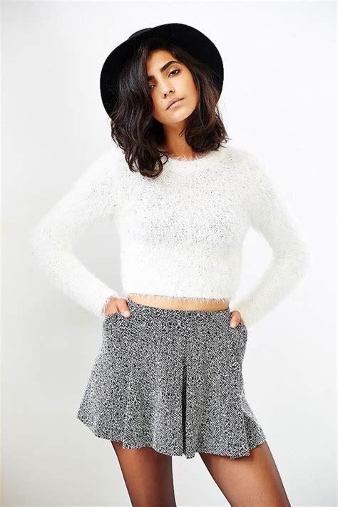 Bennie Crop Sweater white fuzzy sweater sweater