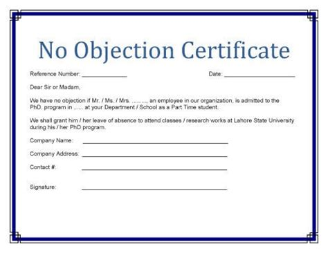 free sample no objection certificate fresh free sample clearance