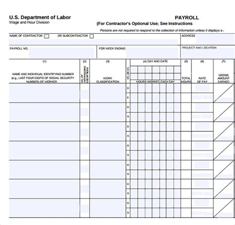 sle blank payroll form template 8 free documents in